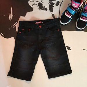Kaalu   Boy's Black Stone Washed Shorts
